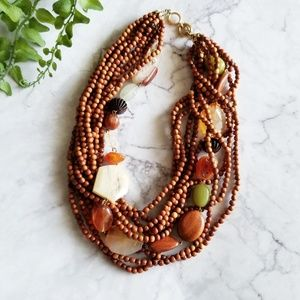 Multi-Strand Wooden Beads Stone Statement Necklace